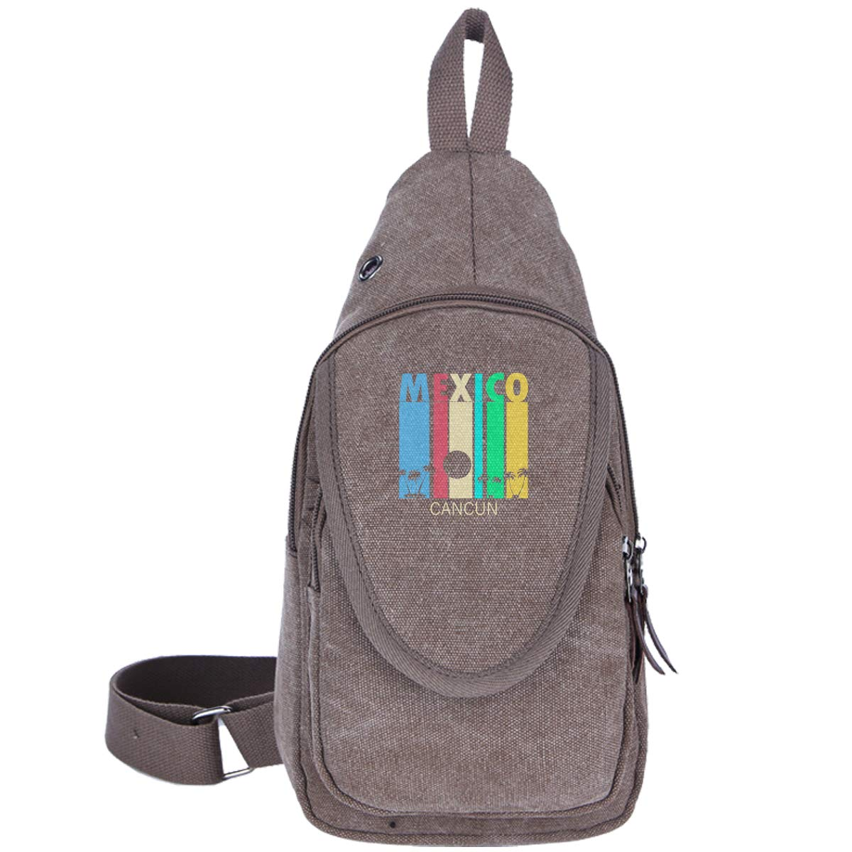 Retro Cancun Mexico Canvas Chest Pack For Walking Travelling Casual Bag For Men/&Women Moss Green