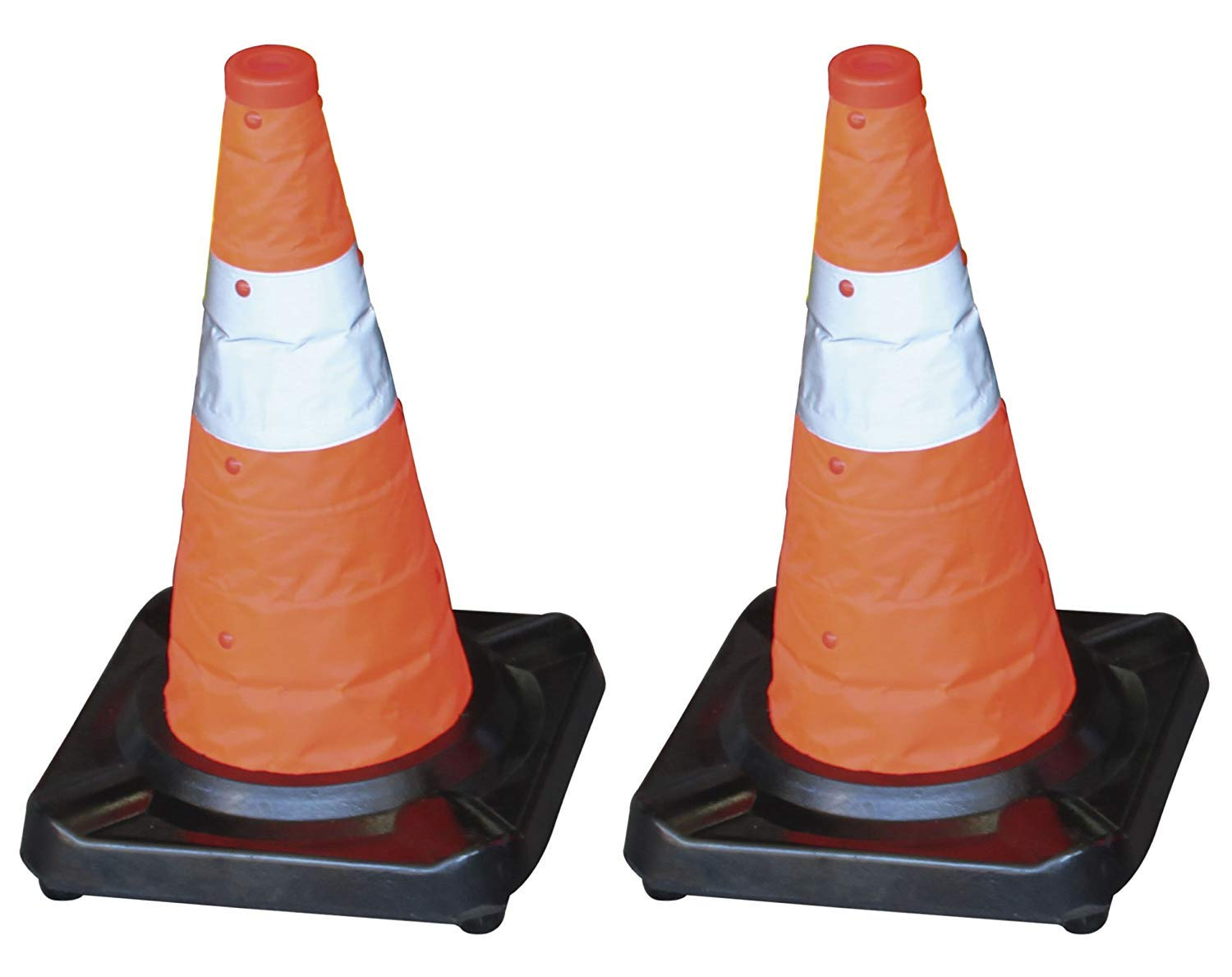PAL – Set of 2 Folding Cones Rubber Base + Reflective Fabric 45 cm Height
