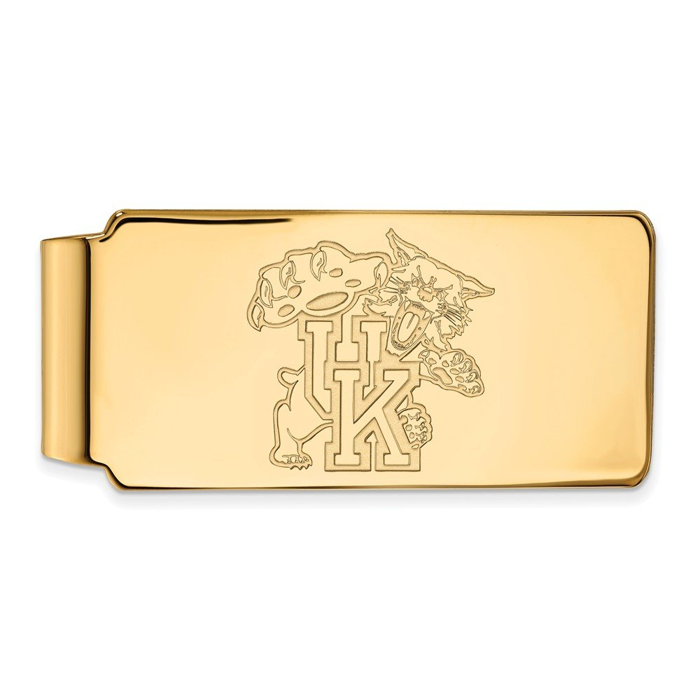 Sterling Silver w// 14K Yellow Gold-Plated LogoArt Official Licensed Collegiate University of Kentucky UK Money Clip