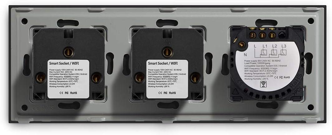 BSEED Smart Alexa Lichtschalter,WIFI Lichtschalter mit Steckdose Kompatibel mit Alexa,Google Home,Glas Touchscreen-schalter,Smart Lichtschalter 2 Gang 1 Weg Wei/ß Neutrale Leitung ben/ötigt