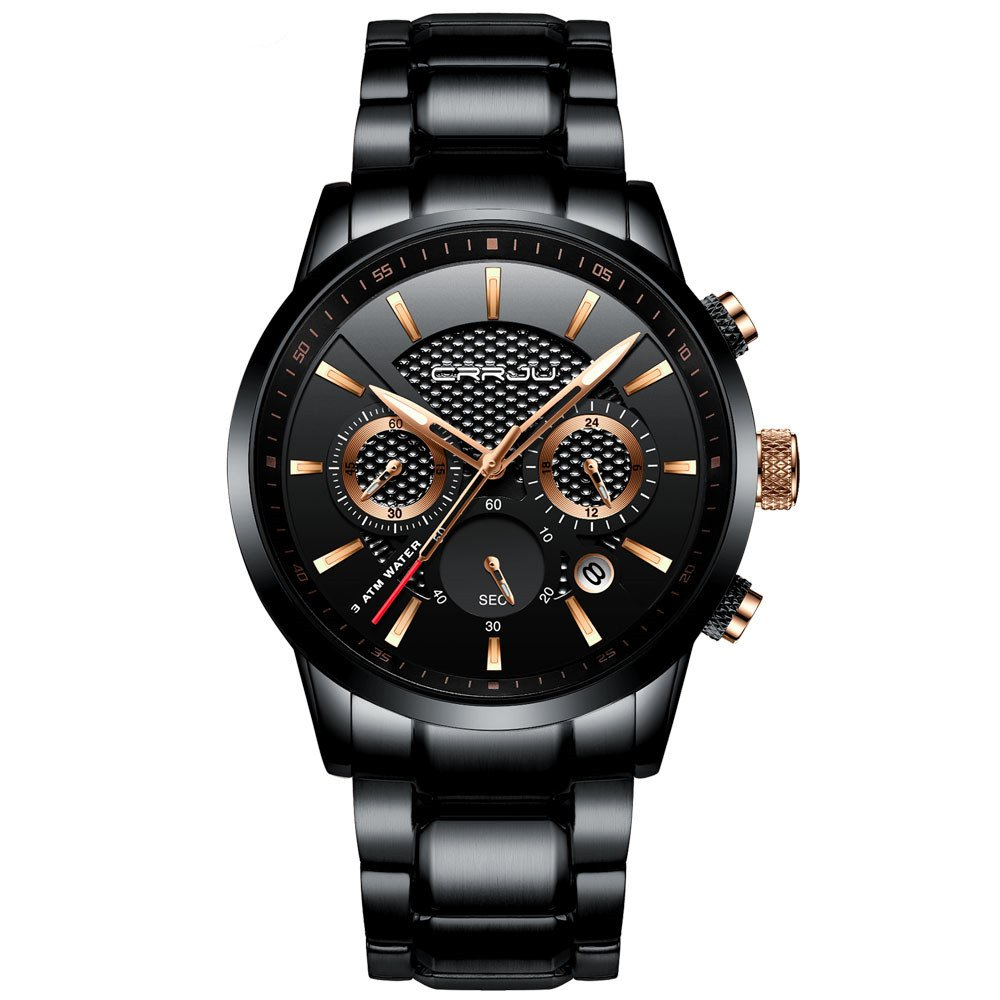 e3a23771891 Amazon.com  CRRJU Mens Stainless Steel Watches Date Casual Wrist Watch with  Black Dial  Watches