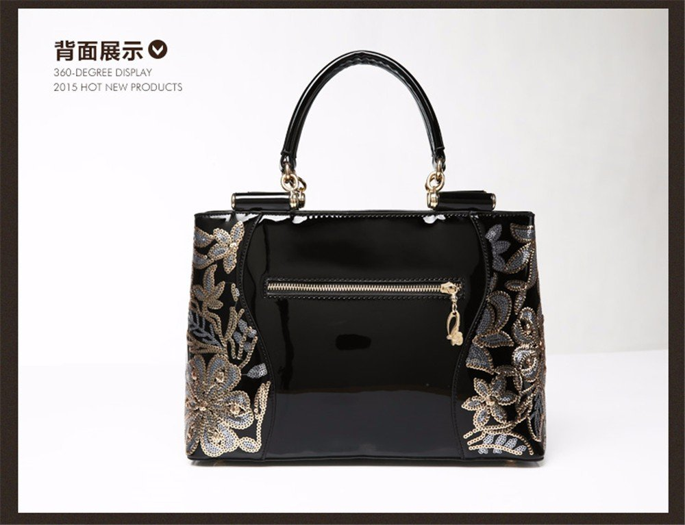 BMKWSG Womens Handbags Leather Shoulder Bags Large Top-Handle Bags Cross-Body Bags Tote Bag Messenger Bag Black