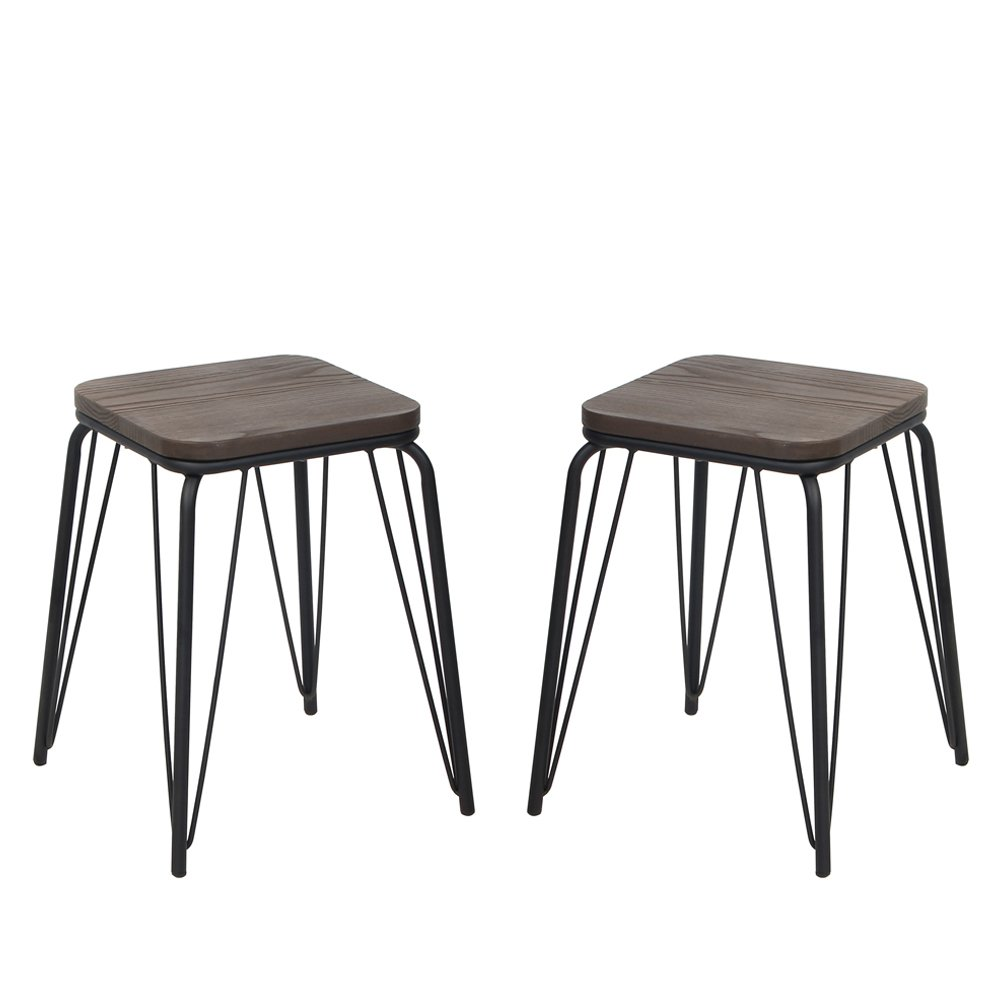 VH FURNITURE Stackable Indoor and Outdoor Metal Barstool With Wood Seat, 18 Inch, Set of 2, Black