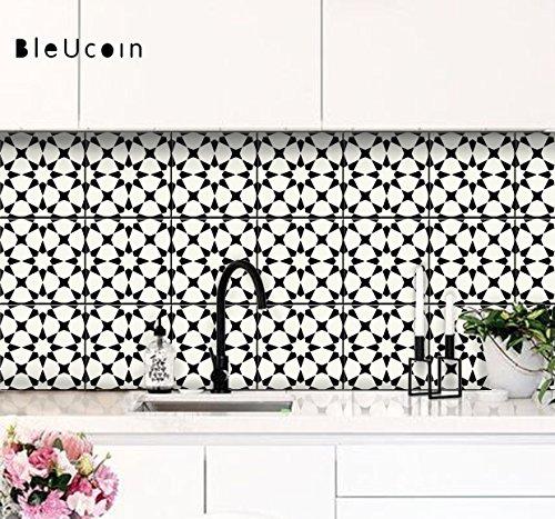 Classicism Moroccan Peel and Stick Tile Stickers for Kitchen Backsplash Bathroom Floor Wood Glass Metal Linoleum Waterproof Removable Eco Friendly Decals,Vinyl Murals- Pack of 6 (6