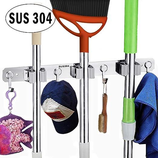 304Stainless Steel Hook Mop Broom Holder Wall Mounted Handle Hanger Storage Rack