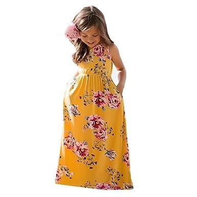 K-youth Vestido para Niñas, Vestido Niñas Princesa Floral De Las Niñas Bebé Vestidos De Fiesta De Playa Vestidos Larga De Trajes De Verano(Amarillo, ...