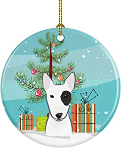 Caroline's Treasures BB1581CO1 Christmas Tree and Bull Terrier Ceramic Ornament, 3 in, Multicolor