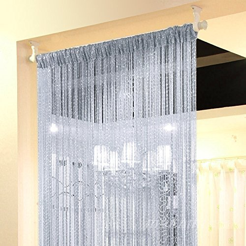 Topixdeals Rare Flat Silver Ribbon Door String Curtain Thread Fringe Window Panel Room Divider Cute Strip Tassel Party Events (2 Pack, Silvery-Gray) -
