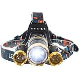K&J 超高輝度LEDヘッドランプ 充電式電池2本付 日本語説明書付き