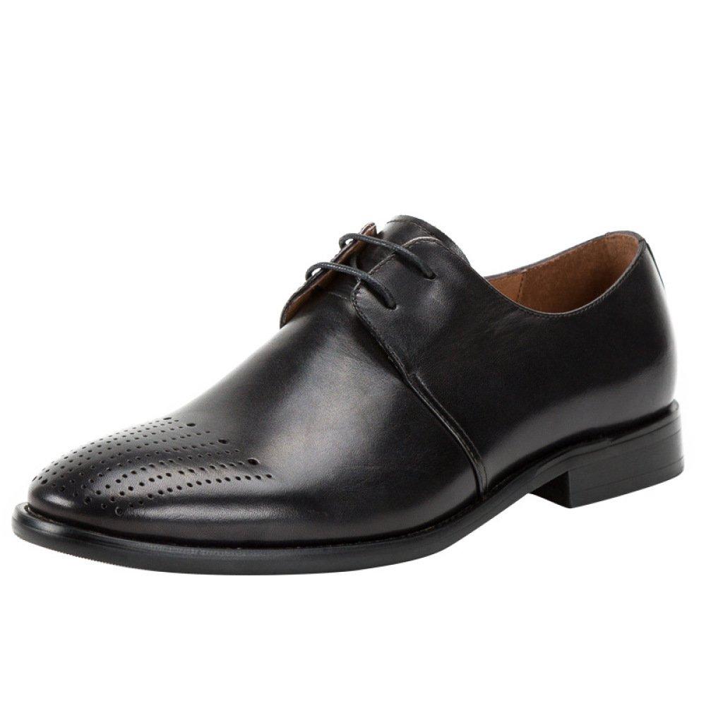 LYZGF Zapatos De Cuero De Encaje Casuales Británicos Tallados A Mano Retro De Bullock Hechos A Mano De Los Hombres 43 EU|Black