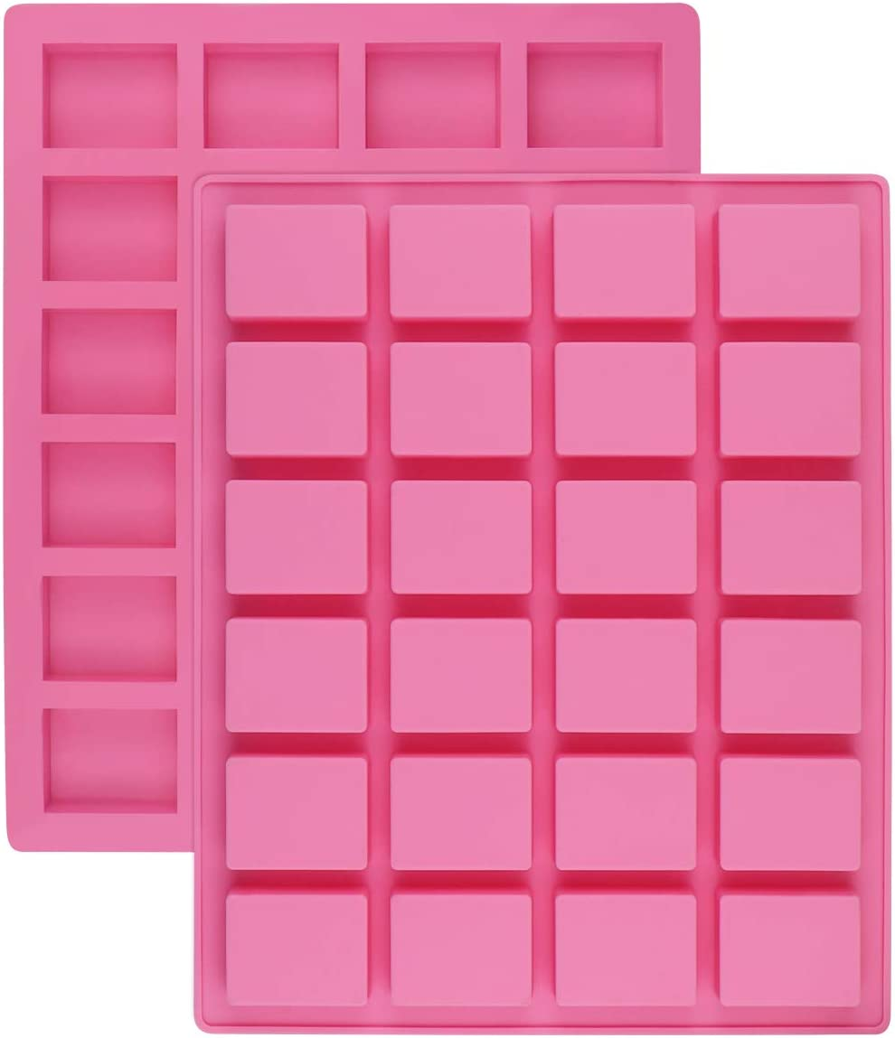 24-Cavity Rectangle Caramel Candy Silicone Molds,Chocolate Truffles Mold,Whiskey Ice Cube Tray,Grid Fondant Mould,Hard Candy Mold Pralines Gummy Jelly Mold