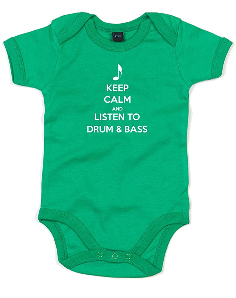 Printed Baby Grow Keep Calm and listen to Drum and Bass
