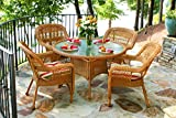 Tortuga US PSD-AM EASTP 4 Piece Portside Dining Set with Southwest Amber Wicker & East Pompeii Cushions For Sale