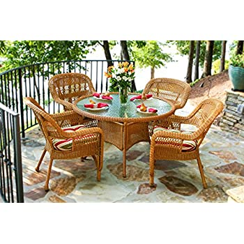 Tortuga Outdoor PSD AM EASTP 5 Piece Portside Dining Set With Southwest  Amber Wicker U0026 East Pompeii Cushions