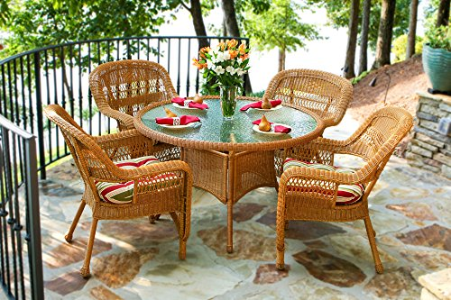 Tortuga US PSD-AM EASTP 4 Piece Portside Dining Set with Southwest Amber Wicker & East Pompeii Cushions
