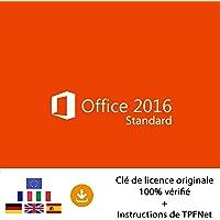 Microsoft® Office 2016 Standard 32 Bits & 64 Bits - Clé de Licence Originale par Postale et E-Mail + Instructions de TPFNet® - Livraison Maximum 60min