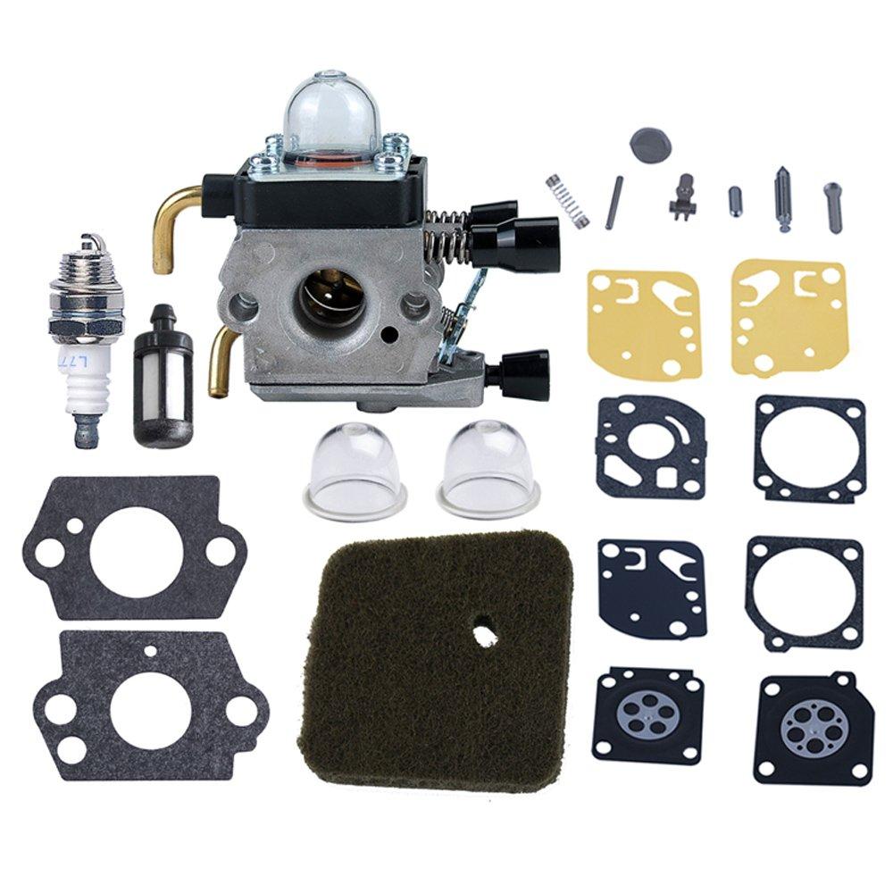 HIPA Carburateur avec Membrane Diaphragme et Pompe d'Amorçage pour Débroussailleuse Stihl FS45 FS46 FS55 FS74 FS75 FS76 FS80 FS85