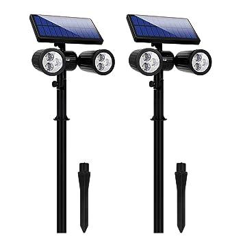 1c2c714d3d53b0 6 LED Lampe Solaire Lumière Solaire Projecteur Lumière de Sécurité Etanche  Spot Solaire Extérieur 2 en