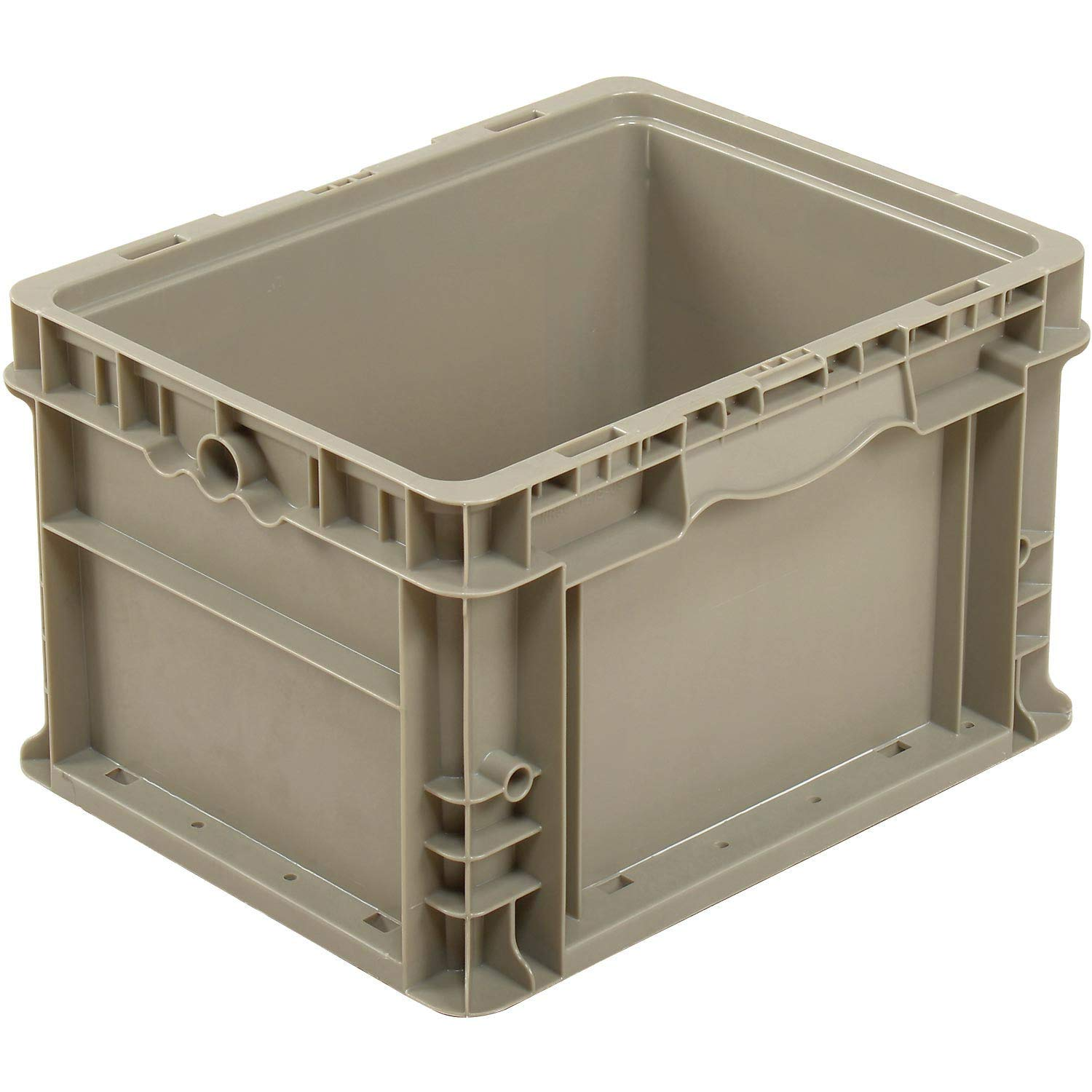 Straight Wall Container Solid Sides Base - Reusable Stackable Moving Storage Bin Container Box Crate, 50 Lbs Capacity, Model # NRSO1215-09, 12 x 15 x 9, Gray by One Stop Shop
