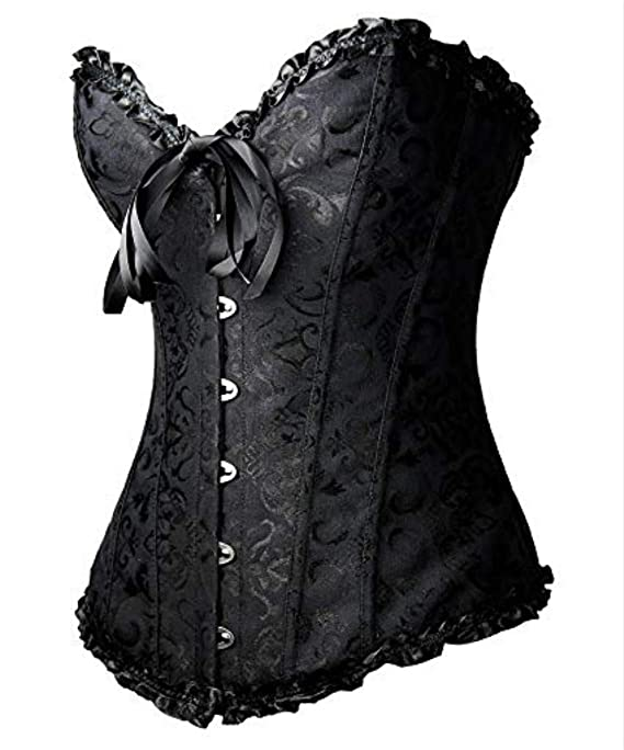 a80f383bdcf Martya Women s Gothic Lace up Boned Overbust Bustier Brocade Basque Corset  Lingerie  Amazon.co.uk  Clothing