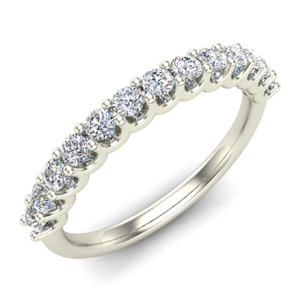 0.50 ct tw Diamond Wedding Anniversary Band 14K White Gold (Ring Size 4.5) by Glitz Design