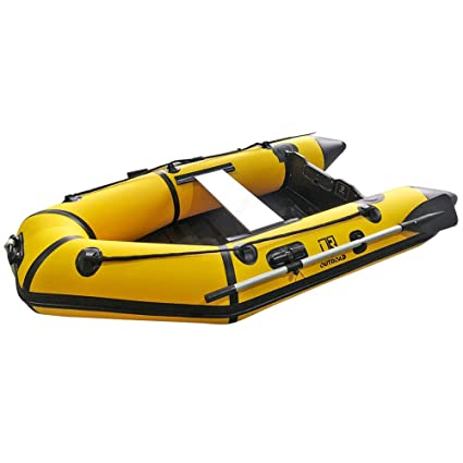 Outroad Inflatable Dinghy Fishing Boat 7 5 FT/ 10 FT, Sport Tender Raft  Deep Bottom and Trolling Motor Transom,2/4 Person Seats w/Two Paddles