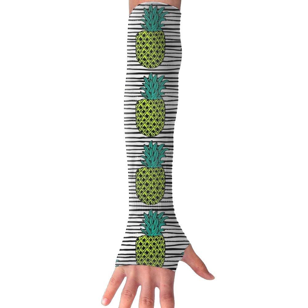 Huadduo Stripes Trendy Pineapple Women's Super Long Fingerless Anti-uv Sun Protection Golf Driving Sports Arm Sun Sleeves Gloves