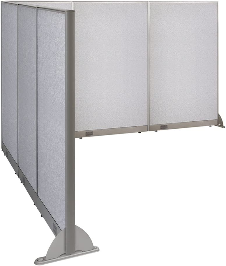 """GOF Freestanding L Shaped Office Partition, Large Fabric Room Divider Panel, 90""""D x 132""""W x 72""""H"""