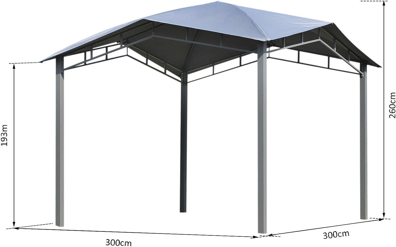 Outsunny Cenador con Techo Especial Exterior Gazebo Pabellón al Aire Libre Cenador Carpa de Jardín 3x3x2.6m Marco de Acero para Fiesta Eventos: Amazon.es: Jardín