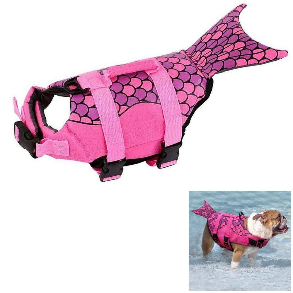 Pink L Pink L Boknight Dog Life Jackets, Pet Life Vest, Dog Floatation Life Preserver Coat Safety Swimwear with Adjustable Belt for Your Dog (L, Pink Mermaid)