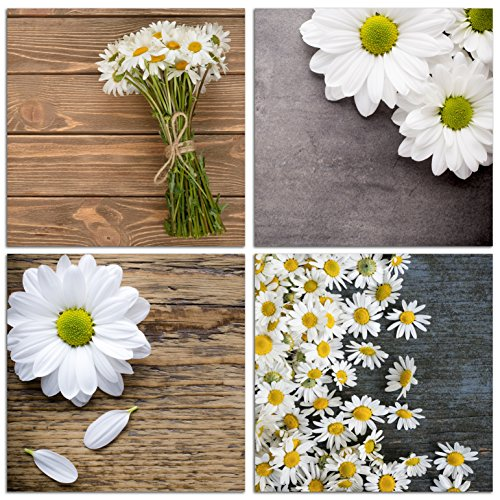 NAN Wind Modern 4 Piece Canvas Print Wall Art Painting For Home Decor Floral Still Life Of White African Daisy Flower in the Table Picture Paintings for for Home Decor Valentine Daisy Home Decor