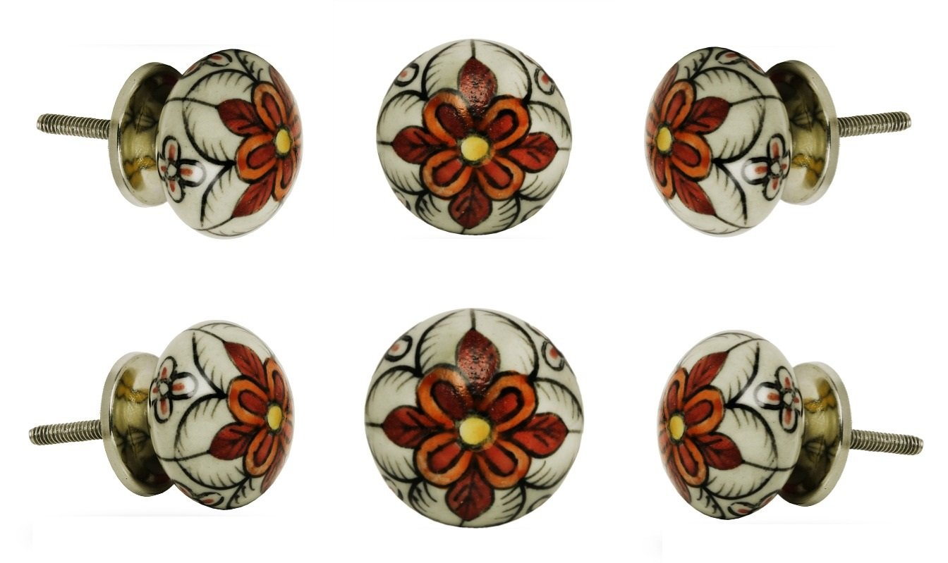 Set of 6 Ceramic Escorial Cabinet Wardrobe Knobs Kitchen Cupboard Door Knob Dressser Wardrobe Pull by Trinca-Ferro