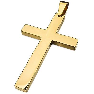 MunkiMix Acero Inoxidable Colgante Oro Dorado Tono Cruzar ...