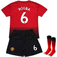 Manchester United #6 Pogba Kids/Youth Home Soccer Jersey & Shorts & Socks 2018