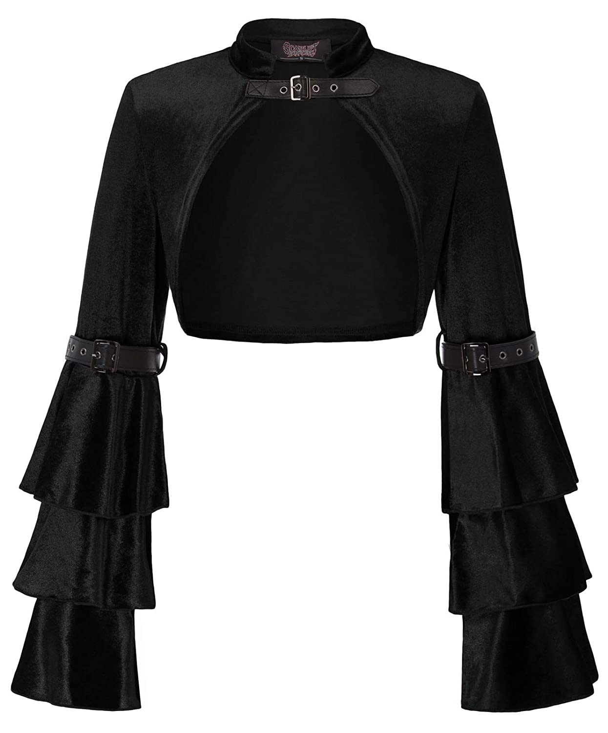 Steampunk Costumes, Outfits for Women SCARLET DARKNESS Womens Bell Sleeve Steampunk Jacket Shrug Gothic Bolero Shrug $23.99 AT vintagedancer.com