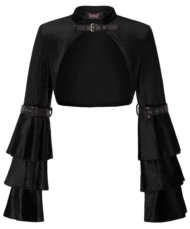 New Vintage Style Coats & Jackets – 30s, 40s, 50s, 60s SCARLET DARKNESS Womens Bell Sleeve Steampunk Jacket Shrug Gothic Bolero Shrug $23.99 AT vintagedancer.com