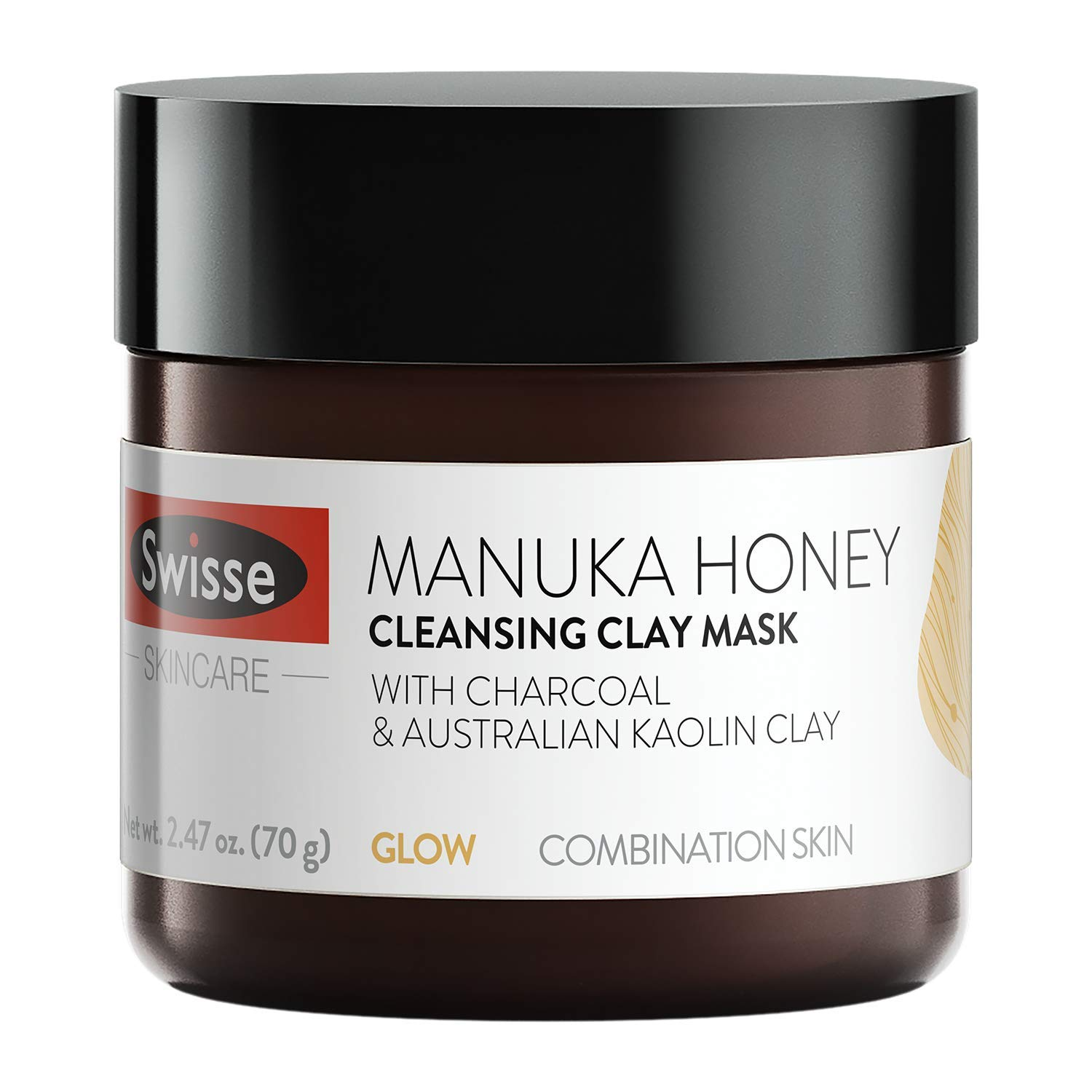 Swisse Natural Skincare Manuka Honey Australian Kaolin Clay Face Mask | For Combination Skin | Cleanses, Purifies, Hydrates | Charcoal, Norwegian Kelp & Red Algae, and Aloe Vera Extract | 2.47 Oz