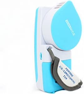 WoneNice Portable Small Fan & Mini-air Conditioner, Runs On Batteries Or USB-Blue
