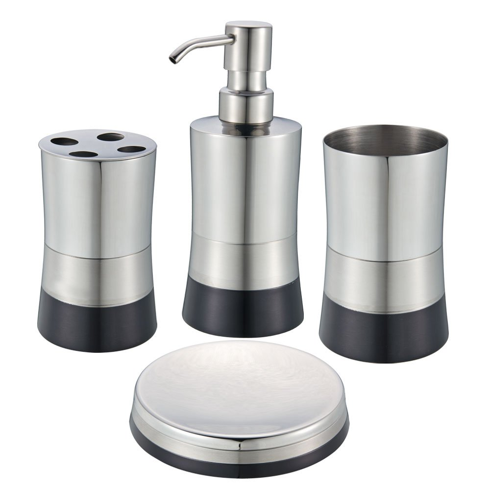 Amazon.com: Blue Donuts 4 Piece Stainless Steel Bathroom Set - Black ...