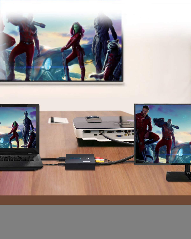 4Kx2K HDMI a AV Convertidor HDMI 1.4 HDMI a RCA Adaptador Compuesto 3 RCA CVBS Video Adaptador de Audio con NTSC y PAL para PS3 PS4 Blu Ray Player Sky HD Caja Negro