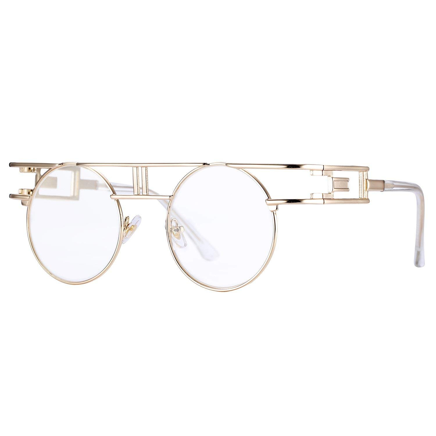 HUA JU Vintage John Lennon Style Metal Spring Frame Round Steampunk Glasses with Clear Lens (Gold Double Bridge-Clear Lens/Lens Width 47mm, 47)