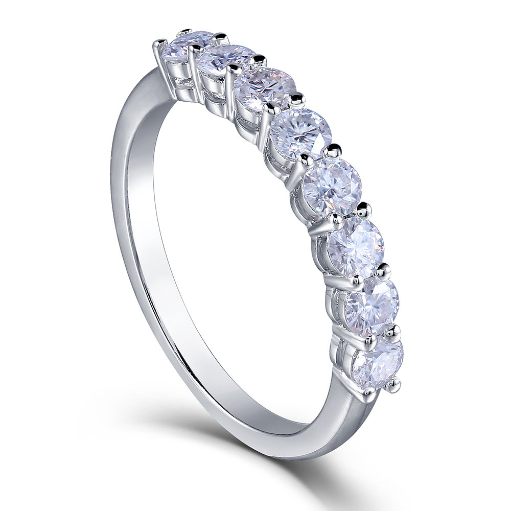 TransGems 0.8 CTW Moissanite Lab Created Diamond Half Eternity Wedding Band 925 Sterling Silver for Women (6.5)