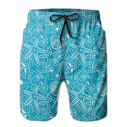 LLiopn Men's Seashell and Starfish Blue Vector Swim Trunks Boardshorts with Pokets Beach Shorts Medium
