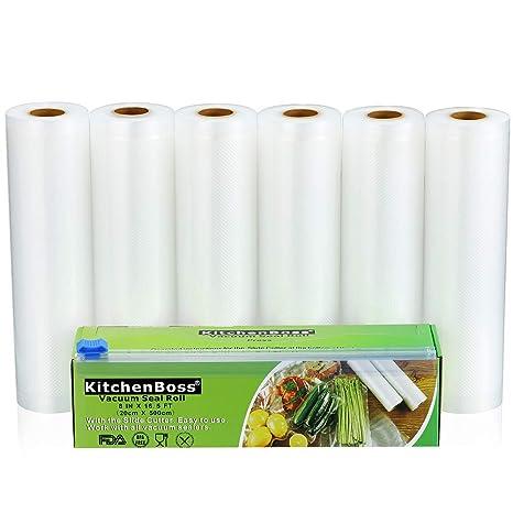 KitchenBoss Bolsas de Vacío 6 Rolls 20x500cm con Caja de Corte (No Más Tijeras) para Almacenaje de Alimentos,Sous Vide Cocina, Aprobación de la FDA y ...