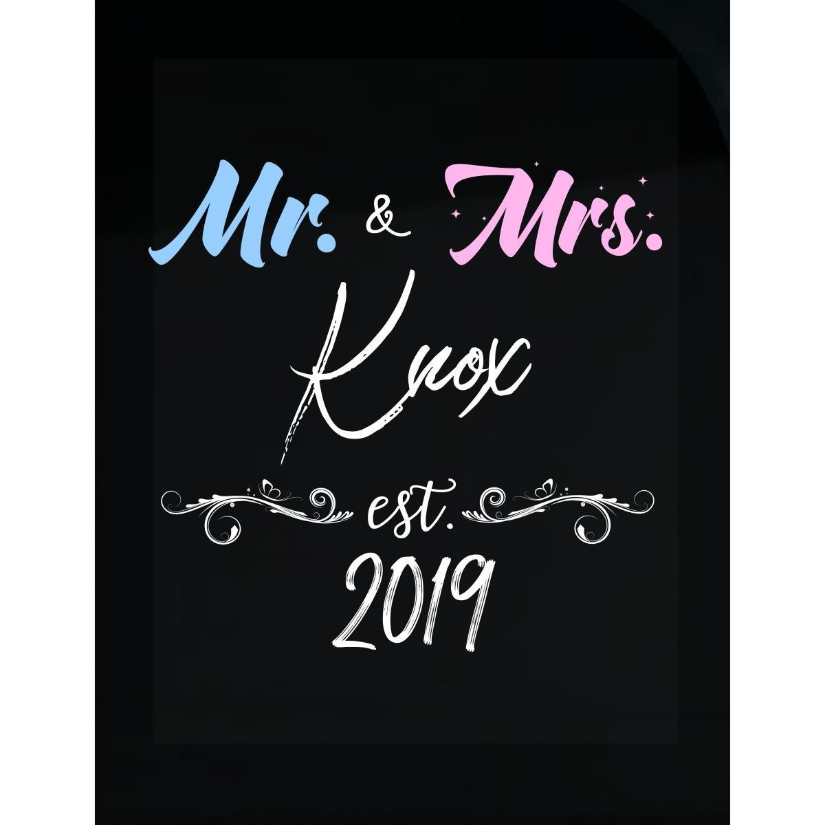 Amazon com my family tee mr and mrs knox est 2019 last name wedding year sticker home kitchen