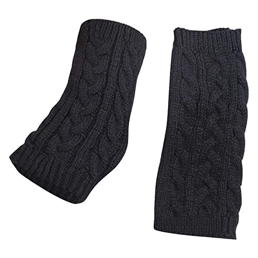 c1e235ac2 FarJing Women Gloves Winter Warm Fingerless Crochet Thumbhole Knit Wrist  Warmers Mittens(Free Size,