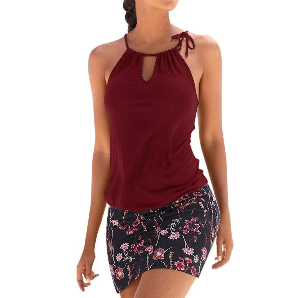 Women's Casual Dresses Summer Beach Sleeveless Halter Strap Sundress Retro Flora Print Tank Dress Plus Size S-2XL (Red + Black, S)