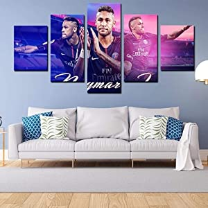 SDFFD 5 Piece Wall Art Modern Fc Barcelona Forward Neymar Blue Abstract Canvas Print Decor Artwork Picture Painting for Bedroom Living Room Bathroom Office Home Decoration