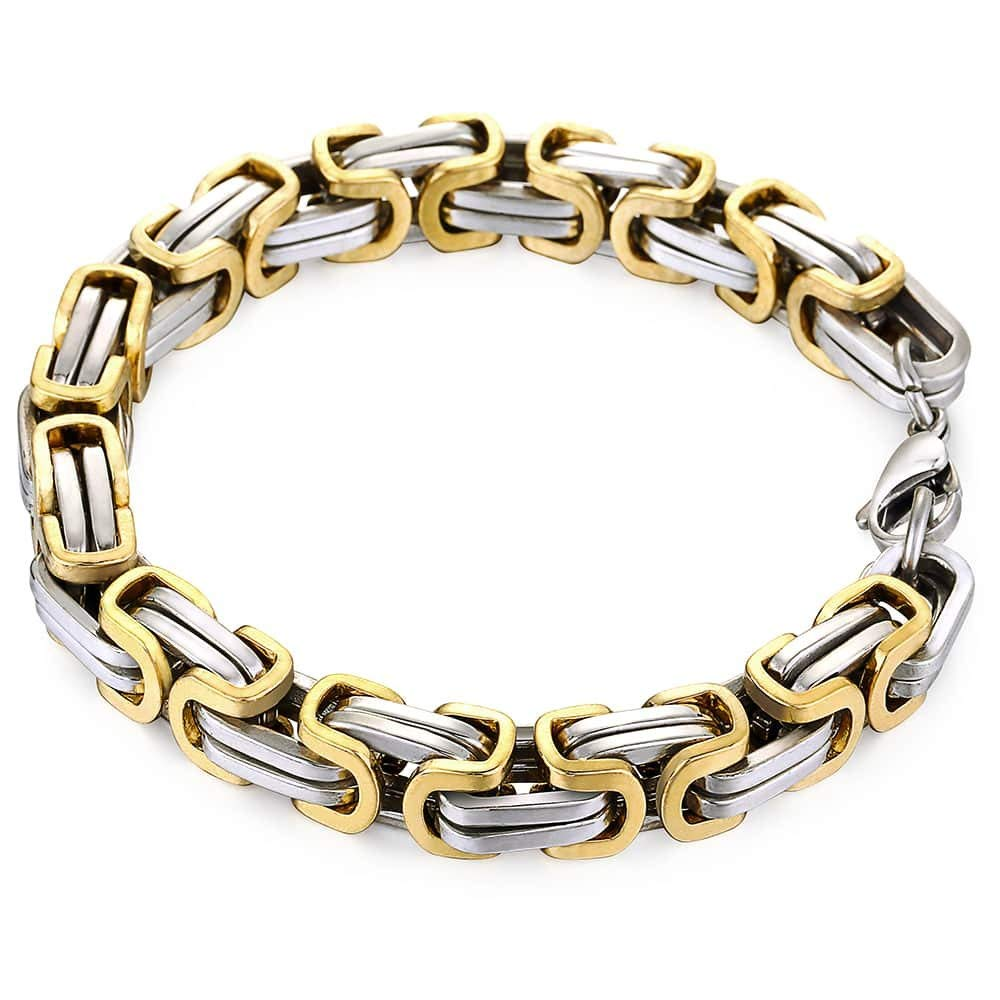 787f171a0e2cd Trendsmax Mens Bracelet and Necklace Stainless Steel Byzantine Chain Link  Gold Silver Tone with Gift Bag 7-11Inch