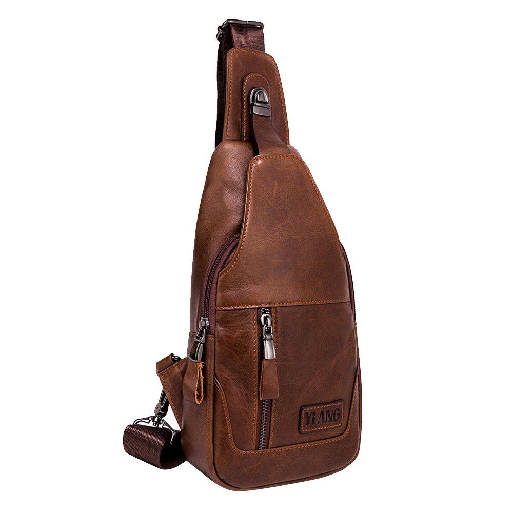 a8a2a2e9e012 Leathario Men's Leather Sling bag Chest bag One shoulder bag Crossbody Bag  Backpack for men (Brown-86)